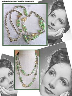 Greta's Green Collana! Greta had travelled far and wide.   Her favorite trip across the big pond was to her beloved Italy where the sites and sounds of the ancient world and Renaissance still seemed to fill the air.  In Venice she was forever on the watch for vintage Murano glass. And as she turned the corner she became green with envy!  See www.nanedwardscollection.com to find out more!