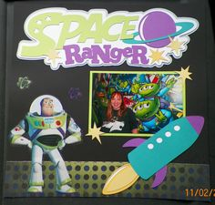 handmade scrapbook page Buzz Lightyear, Walt Disney World page 1 Love these kits www.outonalimbscrapbooking.com