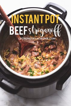 BEST Easy Instant Pot Beef Stroganoff will be a favorite in your home with all the classic flavors and creamy texture of traditional beef stroganoff, made super quick and easy in your pressure cooker… Slow Cooker Recipes, Beef Recipes, Cooking Recipes, Healthy Recipes, Recipes For Pressure Cooker, Instapot Recipes Chicken, Crockpot Meals, Chicken In Pressure Cooker, One Pot Recipes