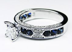 Princess Cut Diamond Vintage Engagement Ring with Blue-Sapphire Accents
