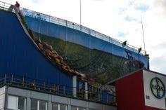 Außenbannermontage am Bayer-Werk, Knapsack, Chemiepark bei Hürth (Köln), Fassadenbanner, Fassadendesign, Projektmanagement, Industriekletterer, Düngemittel