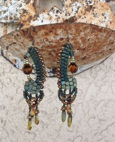 Delightful beaded earrings in rich teal gold and brown by JudesArt, $44.00  SOLD