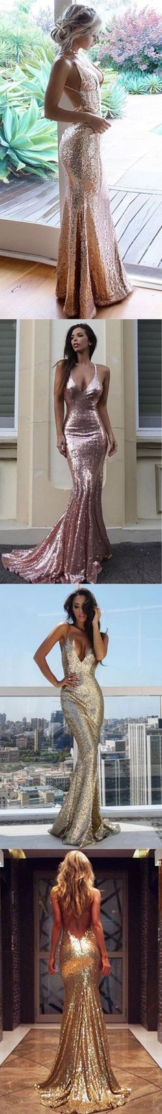 Mermaid Spaghetti Straps Floor-Length Champagne Sequined Prom Dress M1733#prom #promdress #promdresses #longpromdress #2018newfashion #newstyle #promgown #promgowns #formaldress #eveningdress #eveninggown #2019newpromdress #partydress #meetbeauty #mermaid #spaghettistrap #champagne #sequin #vneck