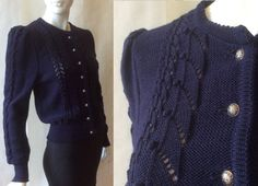 Vintage Austrian wool sweater jacket, in deep rich navy blue, with beautiful openwork pattern details & silvery embossed buttons, medium by afterglowvintage on Etsy European Fashion, European Style, Blue Wool, Sweater Jacket, Wool Sweaters, Chevron, Vintage Outfits, Navy Blue, Deep