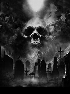 djevelens-mesterverk:Graveyard by Moonlight Evil Tattoos, Skull Tattoos, Body Art Tattoos, Dark Artwork, Skull Artwork, Dark Tattoo, Grey Tattoo, Graveyard Tattoo, Grim Reaper Art