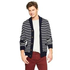 Navy and White Horizontal Striped Shawl Cardigan by Gap. Buy for $27 from Gap