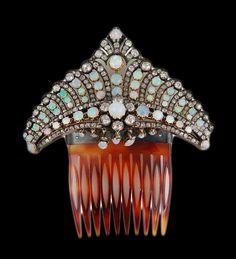 Silver/Gold Opal Diamond Comb - Yafa Jewelry