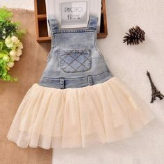Denim tutu dress for your little girl Good matching with a barn wedding theme cowgirl theme photography Can be casual and gift to your grand daughter Product dress Color denim