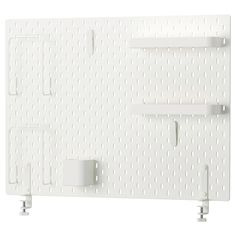 IKEA SKÅDIS Pegboard combination White 76 x 56 cm With SKÅDIS pegboard it's easy to organise all the rooms of the home and quickly find what you need. Small Storage, Storage Shelves, Shelving, Ikea Skadis, Ikea Hack, Ikea Pegboard, Sewing Cabinet, Home Organization, New Homes