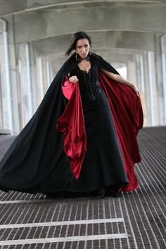 Super Vampire Goth Black And Red Cloak by OblivionClothing Black Romper, Steam Punk, Mode Glamour, Fashion Show, Fashion Outfits, Black Fabric, Nice Dresses, Amazing Dresses, Unisex
