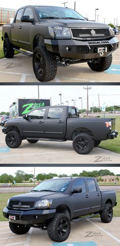 Very clean wrap on this Nissan Titan by Zilla Wraps.  Wrapped in 3M 1080 Matte Deep Black. www.zillawraps.com Vinyl Wrap Colors, 2005 Nissan Titan, Decal Printer, Toyota Trucks, Military Guns, Toyota Hilux, Car Wrap, Raiders, Canopy