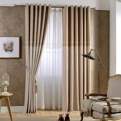 Japanese contracted and contemporary Scandinavian pure color stitching cotton and linen curtain half shading