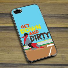 Softball iPhone/Galaxy Case Get Down and Dirty - This customizable protective case is the perfect accessory for any softball players phone. This smartphone case fits the iPhone 4, iPhone 4S, iPhone 5, Samsung Galaxy S3, and Samsung Galaxy S4..