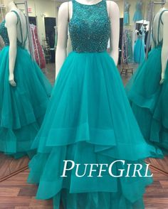 Jade Sleeveless Beaded Bodice Prom Gown With Layered Tulle Skirt