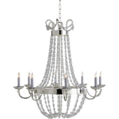 Visual Comfort E.F. Chapman Large Paris Flea Market Chandelier in Polished Silver with Seeded Glass CHC1408PS-SG