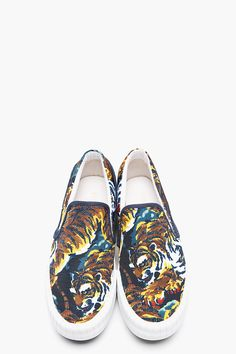 KENZO Navy Canvas Flying Tiger Hevyn Loafers