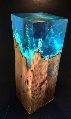 Resin Wall Art, Diy Resin Art, Diy Resin Crafts, Epoxy Resin Wood, Diy Storage Jars, Diy Resin Table, Unique Night Lights, Resin Furniture, Coastal Wall Art