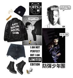 BTS Cypher 4 by mountainrose on Polyvore featuring polyvore moda style Alexander Wang Timberland Newgate Ippolita By Terry Burberry fashion clothing