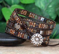 Earthy Tila Beaded Leather Wrap Bracelet Seed Bead Wrap