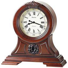 Bulova Marlborough Mantle Clock ($204) ❤ liked on Polyvore featuring home, home decor, clocks, clock, decor, brown, bulova, bulova tabletop clock, antique table clock and antique desk clock