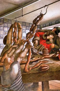 'The Sausage Shop' by English painter Stanley Spencer Oil on canvas, 75 x cm. collection: Newport Museum and Art Gallery, England. via It's About Time Stanley Spencer, Dame Mary, Juan Sanchez Cotan, Hepworth Wakefield, Village People, Great Works Of Art, Religious Paintings, English Artists, British Artists