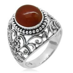 BALI LEGACY COLLECTION STERLING SILVER RING NWT-925-STERLING SILVER RING W/GENUINE CARNELIAN STONE-4.80 TCW BALI LEGACY COLLECTION Jewelry Rings