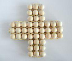 Wooden bead trivet pot holder Swiss cross Plus sign yellow cord