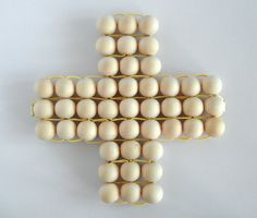 Wooden bead trivet pot holder Swiss cross Plus sign yellow cord