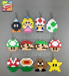 Its-a Super Mario Bros Party Favors! Completely handmade from original Madam FANDOM Pixel Art, each character is topped off with your choice of a Zipper Pull (ideal for clipping to backpacks, purses, etc), magnet, or pin. The characters themselves are handmade using absurdly small beads,