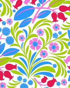 Fabric: Gregory's Garden - Blossoms & Berries - White