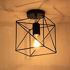 NIUYAO Square Shape Metal Wire Cage Semi Flush Mount Ceiling Light Fixture with 1 light Black