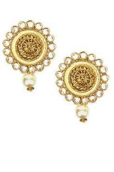 Shillpa Purii Designer Jewellery Gold Finish Uncut Stones Floral Circular Studs €47.99