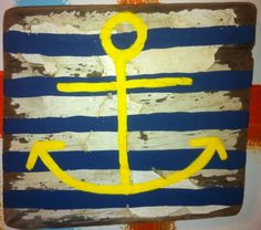 Anchor painted wood signs. love the colors too.