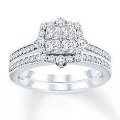 Diamond Bridal Set 3/4 ct tw Princess-cut 14K White Gold