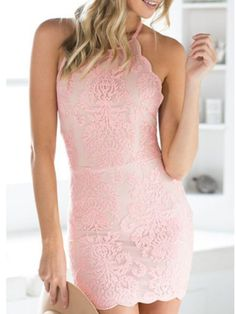 Pink Halter Strap Lace Overlay Cross Back Bodycon Dress