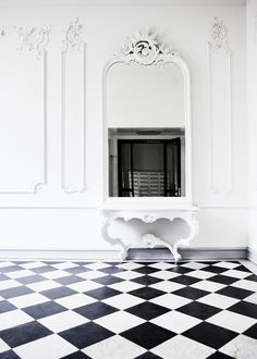 The Architecture of the Classical Interior by Richard Semmes' states that the essential task of the. Black And White Interior, Black And White Tiles, Interior Architecture, Interior And Exterior, Parisian Apartment, Interior Design Inspiration, Living Spaces, Sweet Home, Interior Decorating