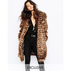 Faux London Fluffy Faux Fur Thigh Length Coat In Leopard ($134) ❤ liked on Polyvore featuring outerwear, coats, models, pictures, multi, faux-fur coats, leopard print coat, faux fur coats, leopard print faux fur coat and leopard coat