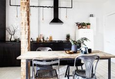 + Industrial kitchen between visible wooden details ...