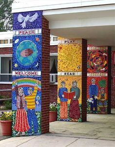 Joshua Winer, Claypit Hill School Entry Columns. Wayland, MA. 12' high x 3' wide (each column).  Cracked tile, Ventian glass, mirror, handmade clay and colored grout.