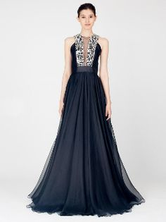 Carmen Marc Valvo Silk and Lace Gazar Gown 11284 - Going to the ...