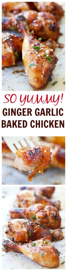 SUPER YUMMY ginger garlic baked chicken marinated with ginger, garlic, soy sauce … - Healthy Recipes! Baked Chicken Recipes, Turkey Recipes, Dinner Recipes, Recipe Chicken, Asian Recipes, Healthy Recipes, Delicious Recipes, Cheap Recipes, Tandoori Masala