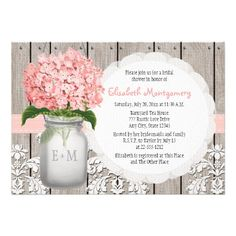 Rustic style monogrammed mason jar bridal shower invitations with pink hydrangea flower. ♥ More bridal shower invitations at http://www.zazzle.com/bridal+shower+invitations?ps=120&rf=238252963030229232&tc=wpz ♥
