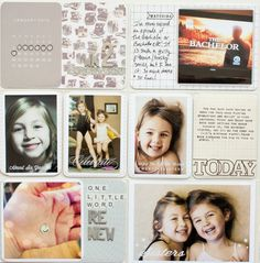 Project life layout [inspiration].  Love the white lettering on photos...maybe use white rubons?