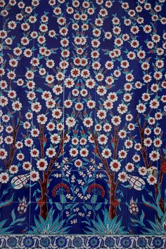 Tile design - beautiful trees. From the Mosquée Sheikh Zayed Grand Mosque in Abu Dhabi.