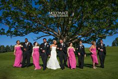 Wedding Party on the golf course at Paint Creek Country Club in Lake Orion, Michigan.  Image by McCoy Made.  #PureMichiganWedding #PaintCreekCountryClub #MichiganWedding #pinkbridesmaiddress #McCoyMadePhotography