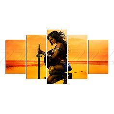 Wonder Woman Superhero Comics Canvas Print Gift 5 Panels