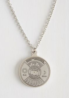 Spin Me Right 'Round Time Necklace, #ModCloth with working perpetual calendar that doesn't work perpetually but does work until 2060.