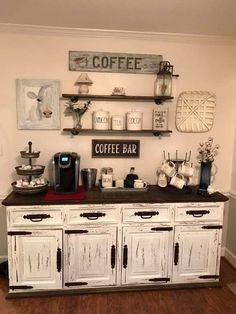 Coffee Bars In Kitchen, Coffee Bar Home, Home Coffee Stations, Coffee Bar Ideas, Coffe Bar, Wine And Coffee Bar, Coffee Bar Station, Kitchen Small, Coffee Kitchen Decor