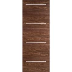 Image of Murcia Walnut Flush Door with Aluminium Inlay, 1/2 Hour Fire Rated, Prefinished