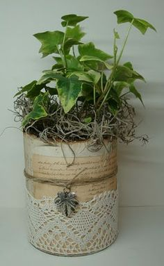 Can with flower lace, old book page #DIY